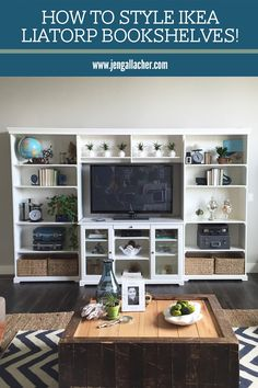 How to style a bookshelf by www.jengallacher.com. Liatorp Bookshelf and Entertainemtn Center from Ikea. #shelfie #bookshelves #stylingashelf