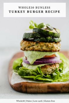 Bunless Turkey Burger Recipe - This recipe is not only healthy (low-carb. - Bunless Turkey Burger Recipe – This recipe is not only healthy (low-carb, paleo, gluten-f - Healthy Burger Recipes, Turkey Burger Recipes, Low Carb Dinner Recipes, Turkey Burgers, Salmon Burgers, Paleo Recipes, Healthy Eats, Yummy Recipes, Grilled Recipes