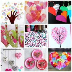 A gorgeous collection of 16 Kid Valentine Heart Craft Ideas showcasing a variety of heart-themed art and craft techniques for kids this Valentine's!