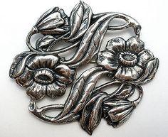 Art Nouveau Flower Brooch Sterling Silver Antique Pin Wedding Sash Ornament