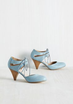 Hello, My Ragtime Pal Heel in Ash Blue by Restricted - Blue, Solid, Cutout, Wedding, Work, Daytime Party, Vintage Inspired, 30s, 40s, Pastel, Darling, Better, Variation, Mid, Leather