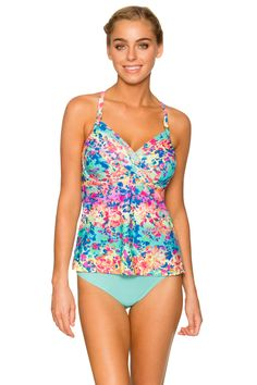 Welcome to your D-cup and DD-cup one stop shop. This shirred underwire tankini not only offers amazing support for large busts, it also has a loose-fitting waistline to camouflage the tummy. Features over the shoulder adjustable straps with a j-hook that enables the straps to convert to a cross back, built-in underwire bra with powernet, hidden adjustable back bra hook and eye closure, and soft picot underbust elastic.