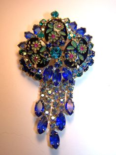 Vintage Juliana Pin Brooch Pendant Colbalt Blue Teal Flower Carved Cabochon | eBay