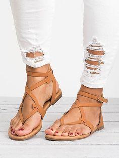 73428dbff835ae 2018 Summer Bandage Beach Flat Sandals For Women