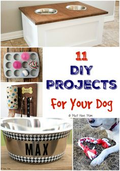 11 DIY Projects For Your Dog! Spoil your dog with these fun do it yourself ideas for dogs! Pet beds, dog bowls, dog collar, dog games and more!