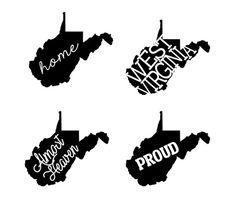 West Virginia State Decals  WV Decals  West by HPDesignsShop