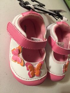 Girls Infant Shoes Size 2 Summer Healthtex Velcro Pink White Butterfly Spring #Healthtex #CasualShoes #SpringEaster