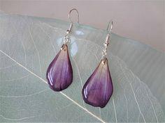 Real flower earrings Purple earrings dangle Earrings resin