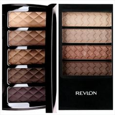 Chanel Ombres Matelassees eyeshadow palette VS Revlon ColorStay Coffee Bean Quad (discontinued) (Lena L (Lenallure) on Twitter)