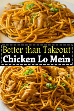 Chicken lo mein is way better than takeout. This easy Chicken Lo Mein recipe is a perfect homemade takeout with savory chicken, noddles and crisp veggies. #chickenlomein #chickenlomeinwithmushrooms #chickenlomeinsauce #chickenlomeinhomemade