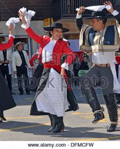 Chilean dance partners at the International Festival of Folklore and Dance from the mountains (CIME) : August 13, - Stock Photo