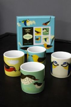 Set of 4 Beautiful Birdy Porcelain Egg Cups with Gift Box