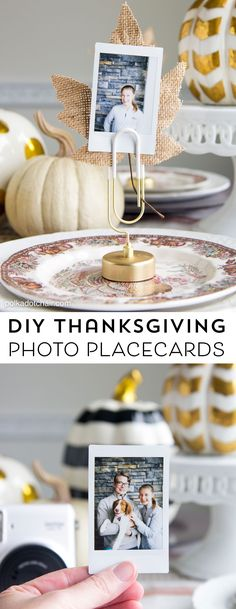 Best Diy Crafts Ideas Cute idea for Thanksgiving Place Cards- DIY Photo place cards using Instax photos -Read More – Thanksgiving Photos, Thanksgiving Place Cards, Thanksgiving Crafts For Kids, Thanksgiving Decorations, Thanksgiving Recipes, Diy Place Cards, Cards Diy, Free Thanksgiving Printables, Foto Transfer
