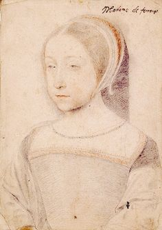 Renée de France by François Clouet. She was daughter to King Louis XII of France and his wife Anne of Brittany. She was sister to Claude, Queen of France. She married Ercole II d'Este, Duke of Ferrara, thus making her also Duchess of Ferrara.