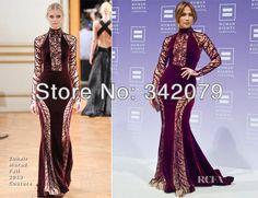 ph12029 Jennifer Lopez  Zuhair Murad deep burgundy velvet gown sheer silk panels embellished beaded  purple bandage dress