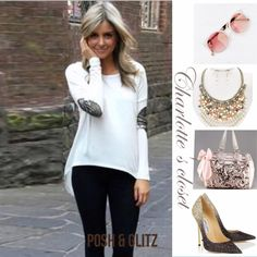 White casual  Tunic w/ sequins New Fashion Long Sleeve Cotton Female Casual Patchwork Sexy Tunic/ Stretches Size ; M. Material; cotton & Poly blend. Let me know the size you want Tops Tunics