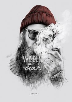 widsom of the bear beard drawing smoking pipe