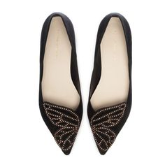 Timeless black suede flat finished with rose gold studded Butterfly detail. Effortlessly chic and perfect for any occasion.