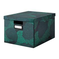 TJENA Pudełko z pokrywką - czarnoniebieski - IKEA