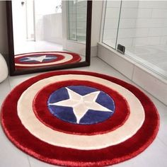 Give your home a patriotic touch the ol' Capt would be proud of with the the Captain America rug. This circular plush rug is styled exactly like the Captain's iconic red, white, and blue shield and looks great in either bathrooms or bedrooms.