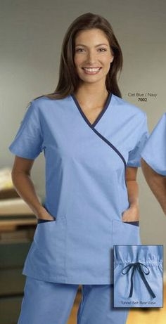 Ladies Spa Cross Over Tunic available in six different colors Mais Healthcare Uniforms, Medical Uniforms, Work Uniforms, Spa Uniform, Scrubs Uniform, Housekeeping Uniform, Scrubs Outfit, S Spa, Medical Scrubs