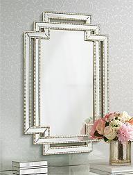 Erte Openwork Silver Beaded Wall Mirror