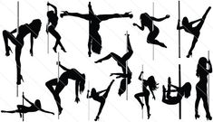 Pole Dance and Pole Fitness - Pole Dance Art Photos, Best Dance Pole To Buy, Pole Dancing Weight Limit Pole Dancing Clothes, Pole Dancing Fitness, Pole Fitness, Dancer Silhouette, Silhouette Clip Art, Silhouette Projects, Tracing Art, Pole Art, Drawing Reference Poses