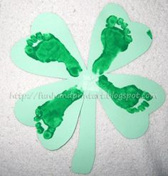 Footprint 4 Leaf Clover Craft for St Patrick's Day. I am so doing this with my 4 kids for grandparents gifts! So cute!