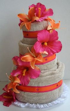 3 - Tier Luau Themed Towel Cake
