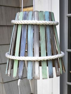 DIY: Paint Stir Lamp using Vinegar and Steel Wool and Chalk Paint by Serendipity Refined Paint Stir Sticks, Painted Sticks, Diy Abat Jour, Do It Yourself Upcycling, Luminaire Original, Paint Stirrers, Old Lamp Shades, Do It Yourself Inspiration, Decorating On A Budget