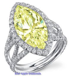 5.50Ct VS2 Fancy Canary Yellow Marquise Diamond Ring