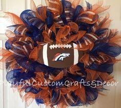 Denver Broncos Door Wreath with Orange Lights