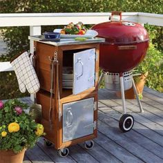 MAKE A GRILLING STATION --    Carrying things from your (indoor) kitchen to the backyard can be a real drag. Stock this handsome cart—made of two planters and a few easy-to-find parts—and you'll have everything you need to cook up your barbecue feast.
