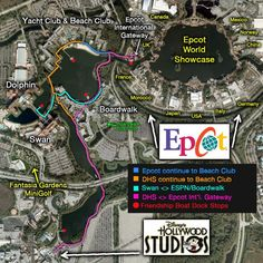 Detailed map of walking path from Disney's Epcot to Hollywood Studios: