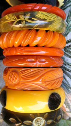 bakelite-  I have several piees from the 30's that belonged to my mamma and my great Aunt.....(little treasure's)/bb