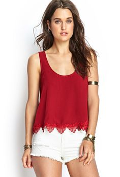 Boxy Crochet-Trimmed Tank | FOREVER21 #SummerForever. Don't usually like red, but i do like this :)