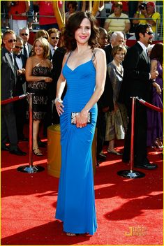 Mary Louise Parker in Roberto Cavalli - 2008 Emmy Awards Elizabeth Perkins, Mary Elizabeth, Mary Louise Parker, Red Sparrow, The Emmys, Blue Dresses, Formal Dresses, Blue Gown, Hot Actresses