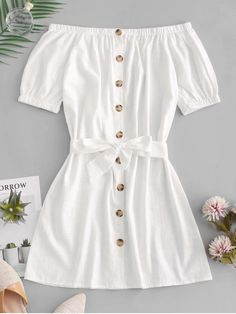 Button Up Off Shoulder Mini Dress - White S Source by joyceqmiranda clothes fashion moda Cute Casual Outfits, Cute Summer Outfits, Pretty Outfits, Stylish Outfits, Outfit Summer, Casual Summer, Kids Summer Dresses, Winter Dresses, Pretty Dresses