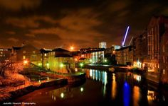 View of Leeds to Liverpool canal at night  Leeds, West Yorkshire, England