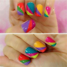 Bright and Colourful Nail Art: Summer polish shades are fun to work with. Depending on the design they can be bright, bold and daring or cute, pretty and charming. A simple yet bold design abounding in bright and colourful shades of summer, this piece of nail art is flashy and sparks attitude.
