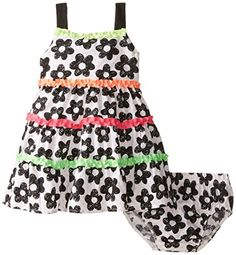 Nannette Baby Girls Floral Printed Poplin Dress with Neon Ruffles Black 12 Months *** Check out this great product.