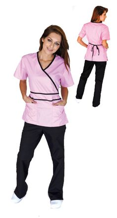 Contrast Mock Scrub Set in 6 different colors,2 patch pockets,wrap top with adjustable ties,side vents for the top,low rise flare leg,2 side pockets,cargo pockets and 1 back pocket for the pants,65/35 Polly/Cotton #scrubs #nurses #uniforms #apparel