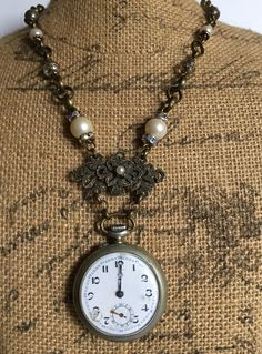 Time Matters, Vintage Assemblage Necklace, Upcycled, Repurposed Jewelry, Steampunk, Boho by LuckyDogFindings on Etsy https://www.etsy.com/listing/588901842/time-matters-vintage-assemblage-necklace