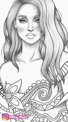 Adult coloring page girl portrait and clothes colouring sheet fairytale pdf printable anti-stress relaxing zentangle line art Coloring Book Art, Adult Coloring Book Pages, Cute Coloring Pages, Coloring Pages For Girls, Coloring Pages To Print, People Coloring Pages, Colouring, Outline Drawings, Cute Drawings
