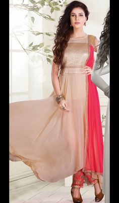Pale Rosy Brown Georgette Net Straight Pant Suit Price: Usa Dollar $199, British UK Pound £117, Euro146, Canada CA$213 , Indian Rs10746.