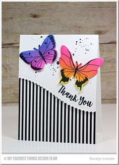 Beautiful Butterflies Card Kit, Distressed Patterns Stamp Set, Stitched Scallop Basic Edges 2 Die-namics - Karolyn Loncon  #mftstamps