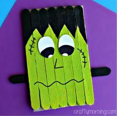 popsicle-stick-frankenstein-craft-for-kids- (halloween manualidades frankenstein) Halloween Arts And Crafts, Fete Halloween, Halloween Activities, Holidays Halloween, Fall Crafts, Holiday Crafts, Holiday Fun, Spooky Halloween, Halloween Labels