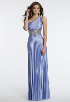 Camille La Vie Charmeuse One Shoulder Pleated Prom Dress
