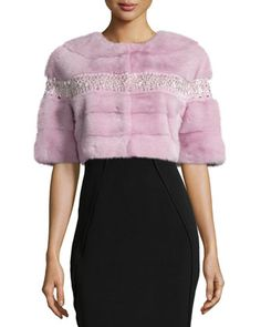 Beaded Mink Fur Bolero, Pale Pink . •Oscar de la Renta dyed mink (USA) fur bolero. •Embroidered beading detail. •Jewel neckline; hidden front closure. •Half sleeves. •Cropped silhouette. •Straight hem. PALE PINK