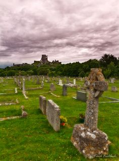 Corfe Castle with cemetery, Dorset, England some relatives are buried here. Its a lovely place to rest